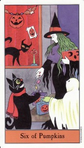 The 6 of Pumpkins (also known as the 6 of Pentacles), from the Halloween Tarot.