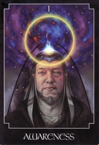 Awareness, from the Psychic Tarot Oracle, is the Magician card in traditional Tarot.