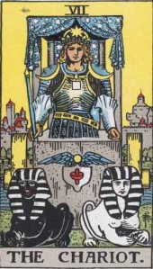 Our Universal Year Card, the Chariot, from the Rider-Waite Tarot. The Rider-Waite Tarot is published by U. S. Games, Inc.