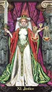 The Justice card, from the Tarot Illuminati, by Erik C. Dunne.