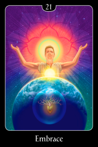 "Embrace, from ""The Psychic Tarot for the Heart Oracle Deck."" This card is the World or the Universe in traditional Tarot"