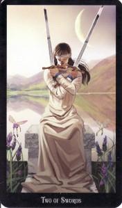 The 2 of Swords, from the Witches Tarot.