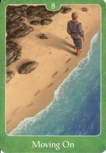 """The """"Moving On"""" card (Green 8), from the Psychic Tarot for the Heart Oracle Deck."""
