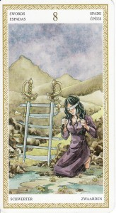 The 8 of Swords, from the Lo Scarabeo Tarot.