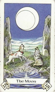 The Moon card, from the Robin Wood Tarot. It is my favorite depiction of this card.