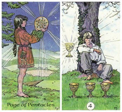 Page of Pentacles and 4 of Cups, from the Robin Wood Tarot by Robin Wood. Published by Llewellyn.