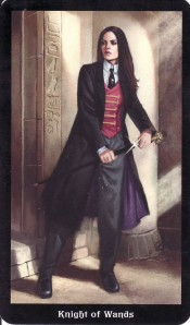 The Knight of Wands, from the Steampunk Tarot (by Barbara Moore and Aly Fell).