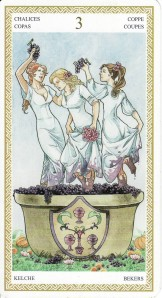 The 3 of Cups, from the Lo Scarabeo Tarot.