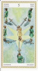 The 5 of Swords, from the Lo Scarabeo Tarot by Mark McElroy and Anna Lazzarini.
