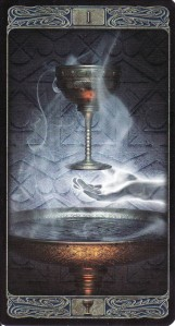 The Ace of Cups, from the Ghost Tarot by Davide Corsi.