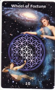 The Wheel of Fortune, from the Infinite Visions Tarot, by Gloria Jean.