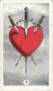 The 3 of Swords, from the Robin Wood Tarot by Robin Wood.
