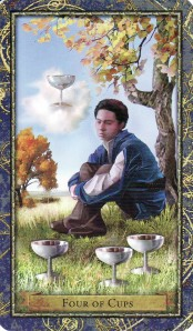 The 4 of Cups, from the Wizards Tarot by Corrine Kenner and John J. Blumen.