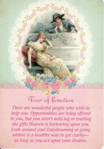 The 4 of Cups (renamed as the 4 of Emotion) from the Guardian Angel Tarot,