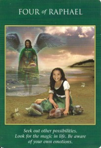 The 4 of Cups (renamed as 4 of Raphael) from the Archangel Power Tarot.