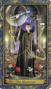 The Magician, from the Wizards Tarot by Corinne Kenner and John J. Blumen.
