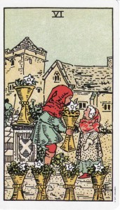 The 6 of Cups, from the Original Rider Waite Tarot.