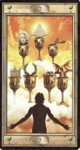 The 7 of Cups, from the Pictorial Key Tarot by Davide Corsi.