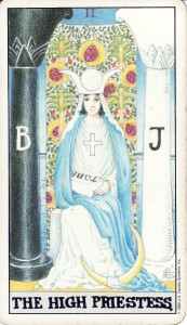 The High Priestess, from the Universal Waite Tarot.