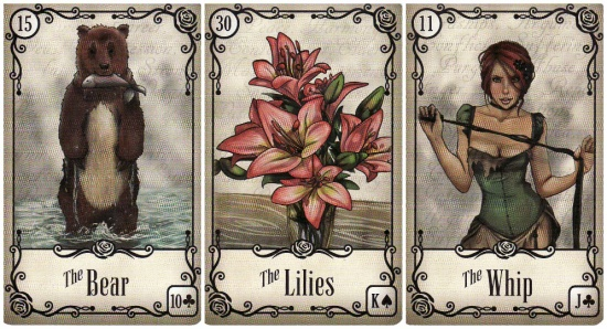 My daily draw, using the Under the Roses Lenormand: the Bear, the Lilies, and the Whip.