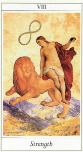 Strength, from the Lovers Tarot by Jane Lyle and Oliver Burston.