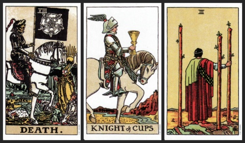 From left to right: Death, Knight of Cups, and 3 of Wands, from the Original Rider Waite Tarot.