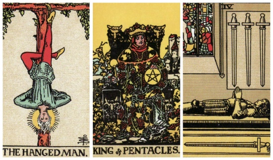 Your Week in Tarot: The Hanged Man, King of Pentacles, and 4 of Swords, from the Original Rider Waite Tarot.