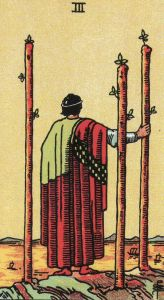 Our Message card for the week: 3 of Wands, also from the Original Rider Waite Tarot.