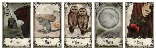 My Line of 5 Reading on being on Instagram. From left to right: The Grave, The Mice, The Owls, The Moon, and The Ring, from the Under the Roses Lenormand.