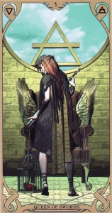 The Queen of Swords, from the Night Sun Tarot by Fabio Listrani.
