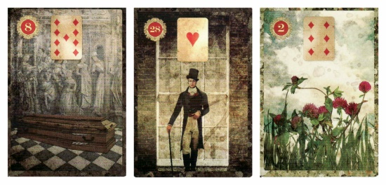 The Coffin, The Gentleman, and The Clover, from the Malpertuis Lenormand.