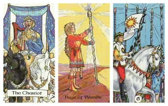 Your Week in Tarot: The Chariot, Page of Wands, and 6 of Wands, from the Robin Wood Tarot.