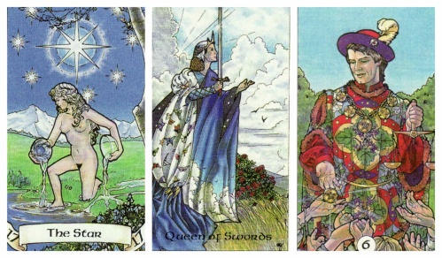 Your Week in Tarot: The Star, Queen of Swords, and 6 of Pentacles, from the Robin Wood Tarot by Robin Wood.