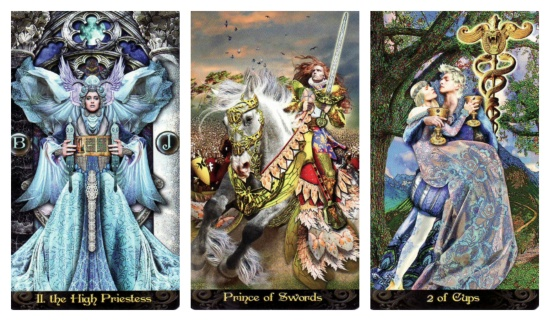 Your Week in Tarot: The High Priestess, Prince of Swords, and 2 of Cups, from the Tarot Illuminati by Erik C. Dunne.