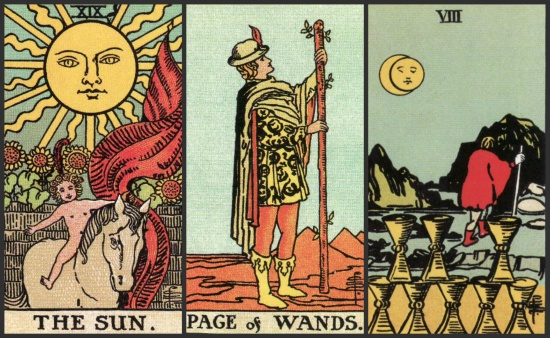 Your Week in Tarot: The Sun, Page of Wands, and 8 of Cups, from the Original Rider Waite Tarot.