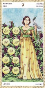9 of Pentacles-Lo Scarabeo Tarot