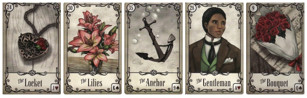 The Locket, The Lilies, The Anchor, The Gentleman, and The Bouquet, from the Under the Roses Lenormand.