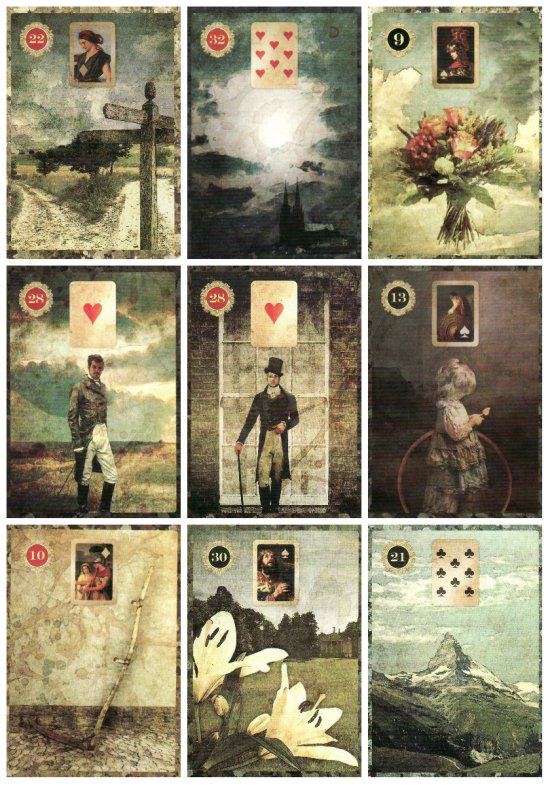 Will Horton's Portrait Spread. Cards from the Malpertuis Lenormand.