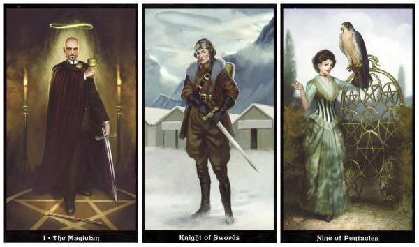 Your Week in Tarot: The Magician, Knight of Swords, and 9 of Pentacles, from the Steampunk Tarot by Barabara Moore & Aly Fell.
