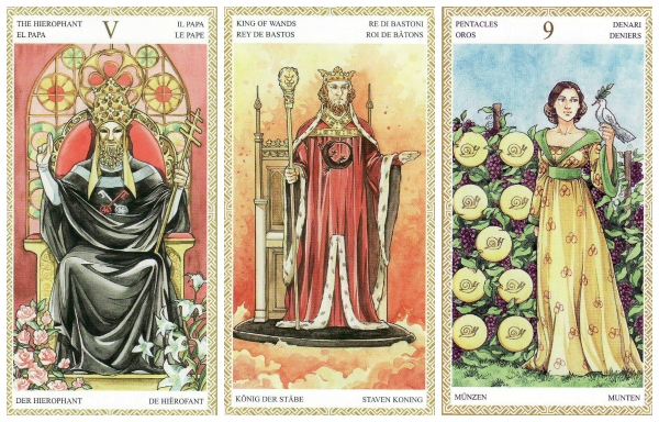 Your Week in Tarot: The Hierophant, King of Wands, and 9 of Pentacles, from the Lo Scarabeo Tarot, by Mark McElroy & Anna Lazzarini.