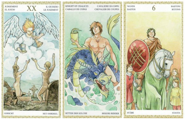 Your Week in Tarot: Judgement, Knight of Cups, and 6 of Wands, from the Lo Scarabeo Tarot by Mark Elroy & Anna Lazzarini.