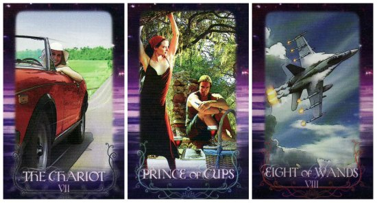 Your Week in Tarot: The Chariot, Prince of Cups, and 8 of Wands, from the Tarot of the Lotus Circle by Marilyn Campbell.