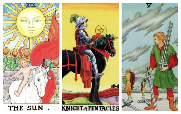 Your Week in Tarot: The Sun, Knight of Pentacles, and the 5 of Swords, from the Universal Waite Tarot.