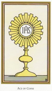 The Ace of Coins, from the Tarot of the Saints, by Robert Place.