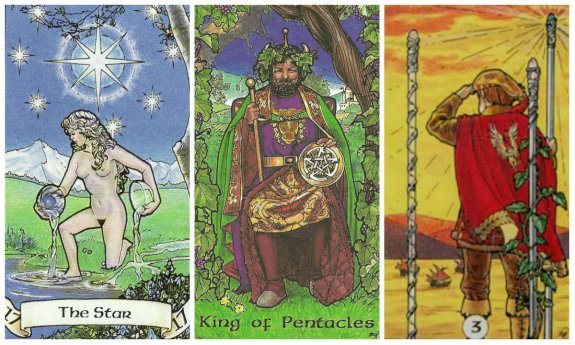 Your Week in Tarot: The Star, King of Pentacles, and 3 of Wands, from the Robin Wood Tarot by Robin Wood.
