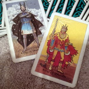 King of Swords and King of Wands, from the Robin Wood Tarot by Robin Wood.