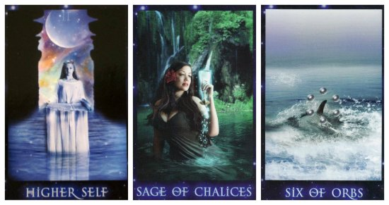 Your Week in Tarot: Higher Self, Sage of Chalices, and 6 of Orbs, from the Sirian Starseed Tarot by Patricia Cori & Alysa Bartha.