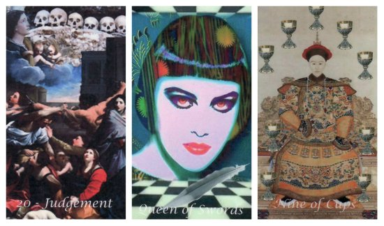 Your Week in Tarot: Judgement, Queen of Swords, and 9 of Cups, from the Odyssey Tarot by Jean Hutter.