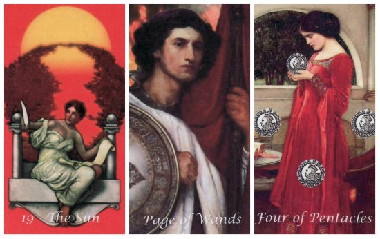 Your Week in Tarot: The Sun, Page of Wands, and 4 of Pentacles, from the Odyssey Tarot by Jean Hutter.