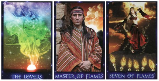 Your Week in Tarot: The Lovers, Master of Flames, and 7 of Flames, from the Sirian Starseed Tarot by Patricia Cori & Alysa Bartha.